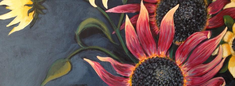 L M Corry Nirmal's Sunflowers detail http://www.lesliemariecorry.com